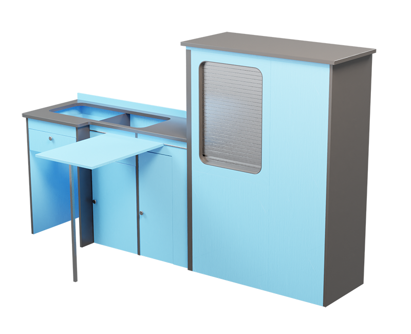 sky blue and grey timber kitchen